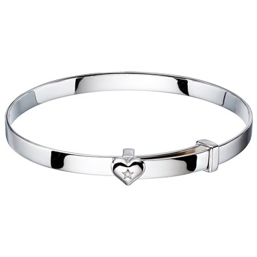 Little Star Gisele Diamond Heart Christening Bangle  - Click to view larger image