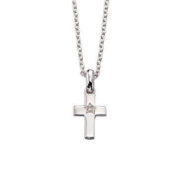 Little Star Grace Diamond Cross Necklace  - Click to view larger image