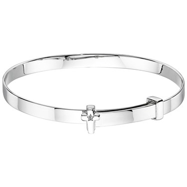 Little Star Honor Diamond Cross Christening Bangle  - Click to view larger image