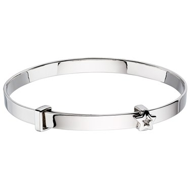 Little Star Inez Diamond Star Christening Bangle  - Click to view larger image
