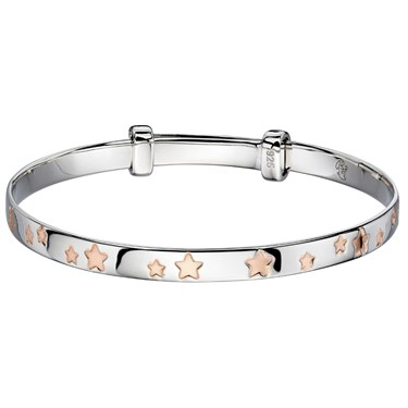 Little Star Jessica Rose Gold Star Christening Bangle   - Click to view larger image