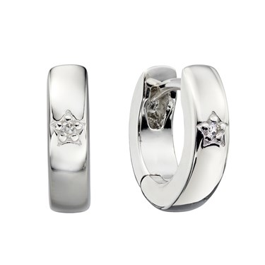Little Star Lottie Diamond Hoop Earrings   - Click to view larger image