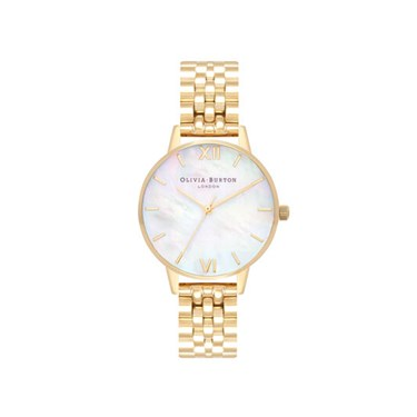 Olivia Burton Mother Of Pearl Gold Bracelet Watch  - Click to view larger image