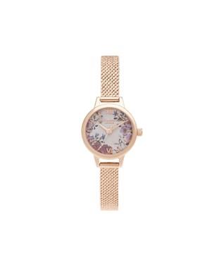 Olivia Burton Mini Dial Rose Gold Floral Bracelet Watch  - Click to view larger image