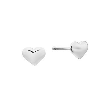 Little Star Phoebe Plain Heart Stud Earrings  - Click to view larger image