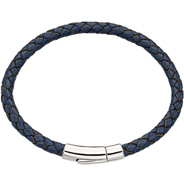 Little Star Reed Mens Navy Leather Bracelet  - Click to view larger image
