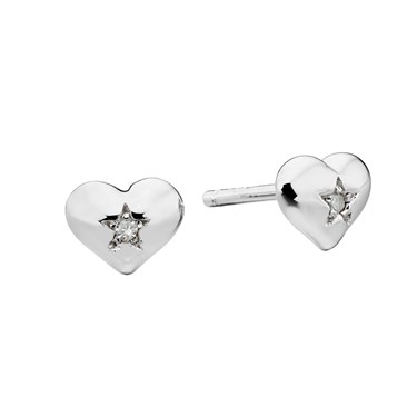 Little Star Suri Diamond Heart Stud Earrings   - Click to view larger image