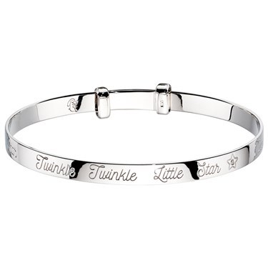 Little Star Twinkle Diamond Star Christening Bangle  - Click to view larger image