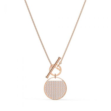 Swarovski Ginger Rose Gold T-Bar Necklace  - Click to view larger image