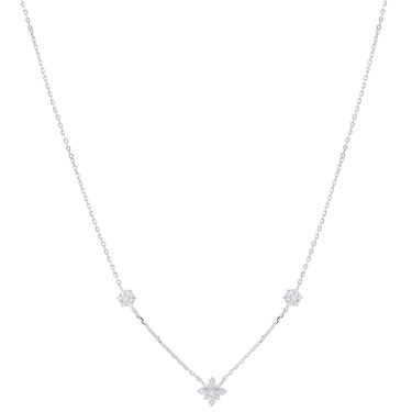 Argento Silver Triple Snowflake Necklace  - Click to view larger image