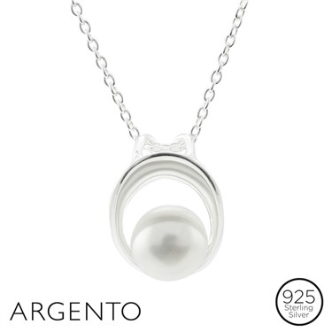 Argento Pearl Silver Oval Necklace