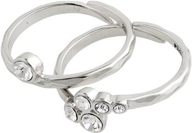 Pilgrim Silver Fran Crystal Adjustable Ring Set  - Click to view larger image
