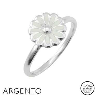 Argento Silver White Flower Ring