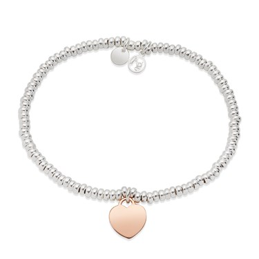 Argento Mixed Metal Hearts Beaded Bracelet  - Click to view larger image