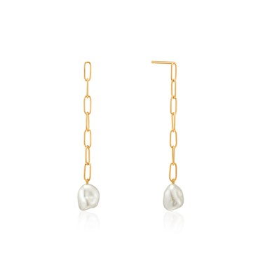 Ania Haie Gold Pearl Chunky Drop Earrings  - Click to view larger image