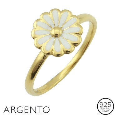 Argento Gold Plated White Flower Ring