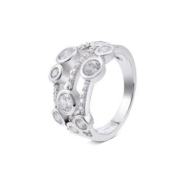 Argento Silver Triple Band Open Crystal Ring  - Click to view larger image