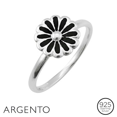 Argento Silver Black Flower Ring
