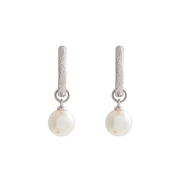 Olivia Burton Silver Antique Pearl Huggie Hoop Earrings  - Click to view larger image