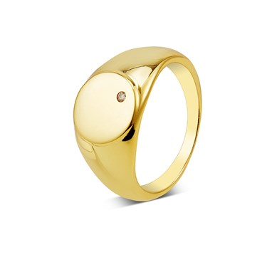 Argento Gold Engraving Signet Ring  - Click to view larger image