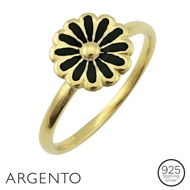 Argento Gold Plated Black Flower Ring