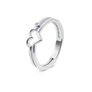 Argento Silver Crystal Heart Ring  - Click to view larger image