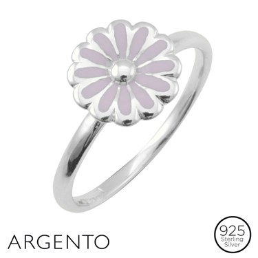 Argento Silver Pink Flower Ring