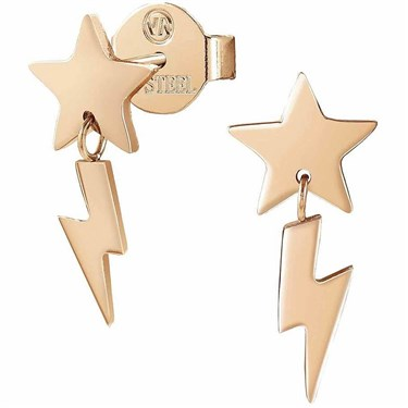 Nomination Rose Gold Stardust Lightening Star Earrings  - Click to view larger image