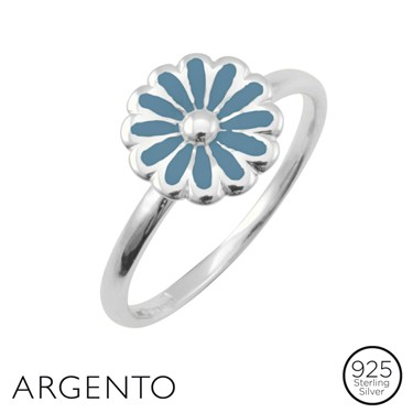 Argento Silver Blue Flower Ring