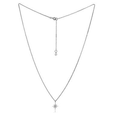 Argento Silver Midnight Crystal Star Necklace  - Click to view larger image