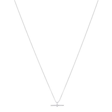 Argento Silver Petite T-Bar Crystal Necklace  - Click to view larger image