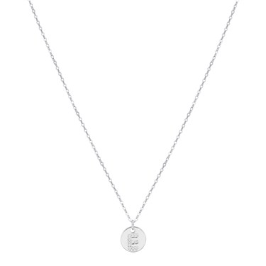 Argento Silver Initial E Tag Necklace  - Click to view larger image