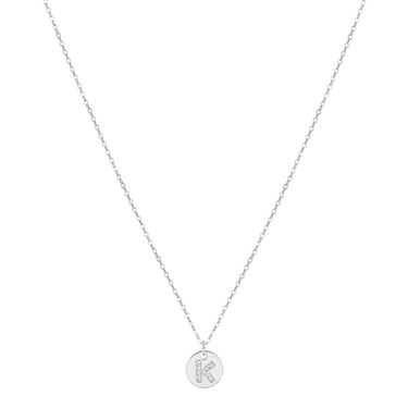 Argento Silver Initial K Tag Necklace  - Click to view larger image