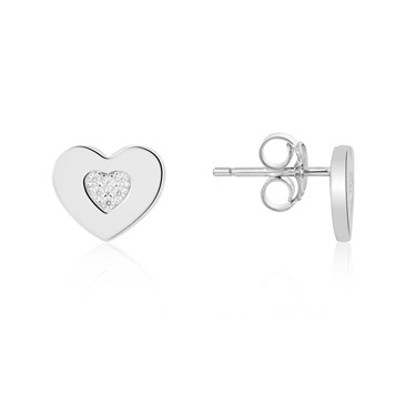 Argento Silver Crystal Heart Stud Earrings  - Click to view larger image