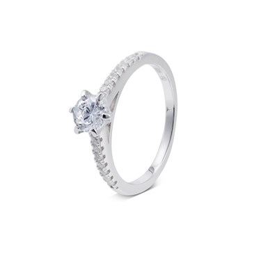 Argento Silver Double Band Solitaire Ring  - Click to view larger image