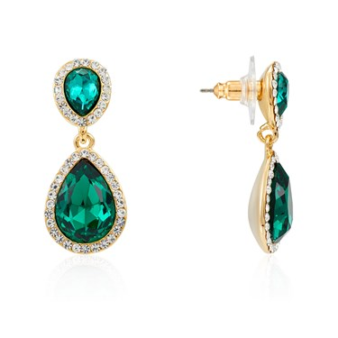 August Woods Gold & Green Teardrop Drop Earrings  - Click to view larger image