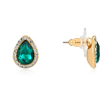 August Woods Gold & Green Teardrop Stud Earrings  - Click to view larger image