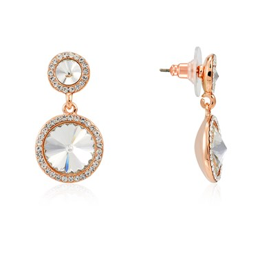 August Woods Rose Gold Crystal Halo Drop Earrings  - Click to view larger image
