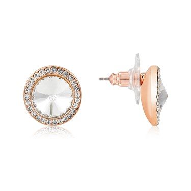 August Woods Rose Gold Crystal Halo Stud Earrings  - Click to view larger image