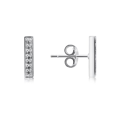Argento Silver Crystal T-Bar Stud Earrings  - Click to view larger image