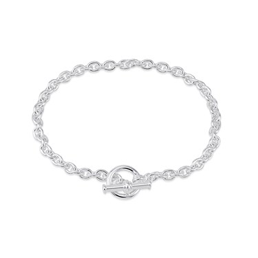 Argento Silver Link T-Bar Bracelet  - Click to view larger image