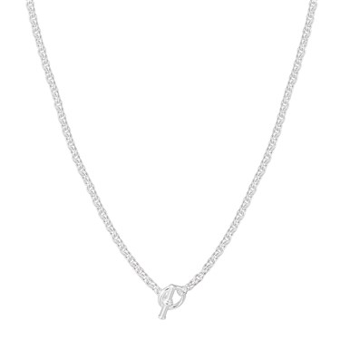 Argento Silver Link T-Bar Necklace  - Click to view larger image