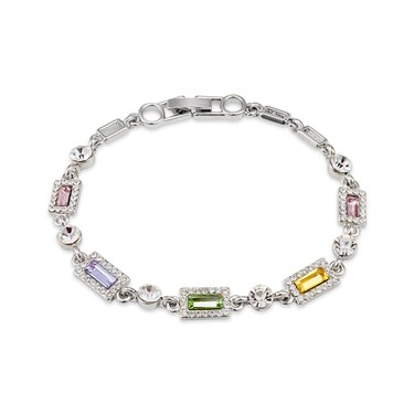 August Woods Silver Pastel Rainbow Crystal Bracelet  - Click to view larger image