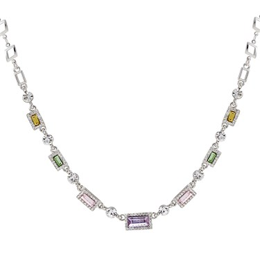 August Woods Silver Pastel Rainbow Crystal Necklace  - Click to view larger image