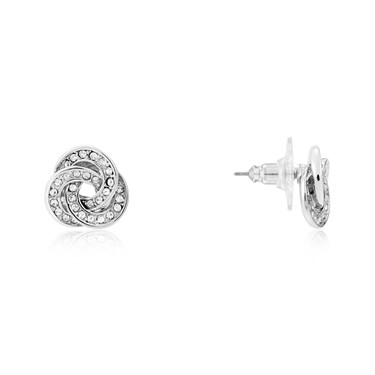 August Woods Silver Knotted Sparkle Stud Earrings  - Click to view larger image