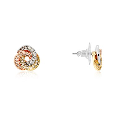 August Woods Mixed Metal Knotted Sparkle Stud Earrings  - Click to view larger image