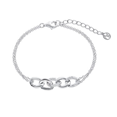 Argento Silver Crystal Links Bracelet  - Click to view larger image