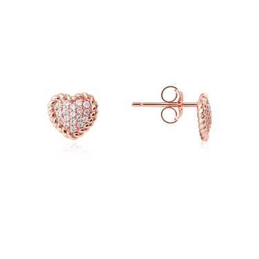 Argento Rose Gold Rope Heart Stud Earrings  - Click to view larger image