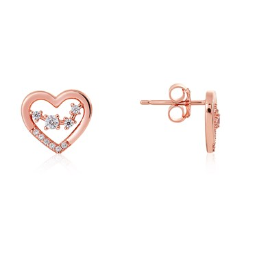 Argento Rose Gold Constellation Heart Earrings  - Click to view larger image