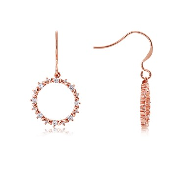Argento Rose Gold Crystal Circle Drop Earrings  - Click to view larger image